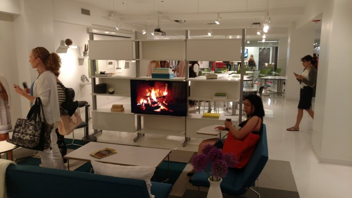 Flatscreen fireplace from Izzy at NeoCon 2017