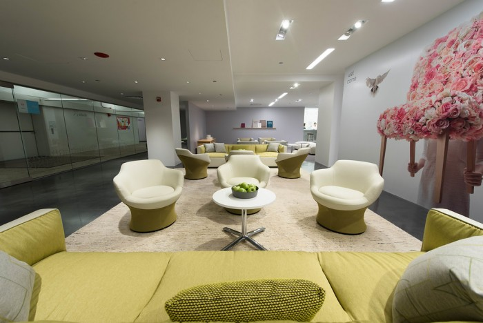 Teknion's beautiful vignette demonstrating workspaces with a residential feel and attention to design and detai. l